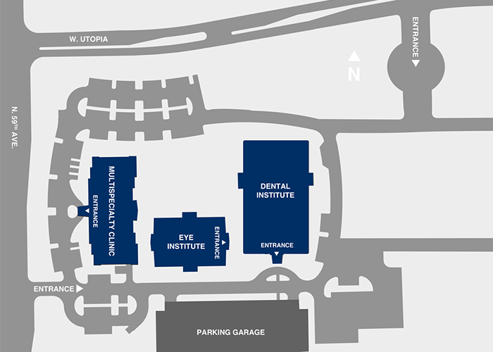 Midwestern University Clinics Arizona Entrance Map